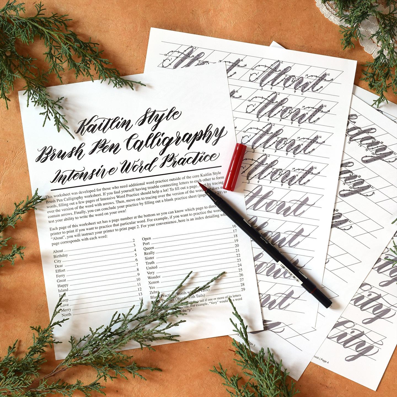 Premium Kaitlin Style Brush Pen Calligraphy Worksheet No Videos