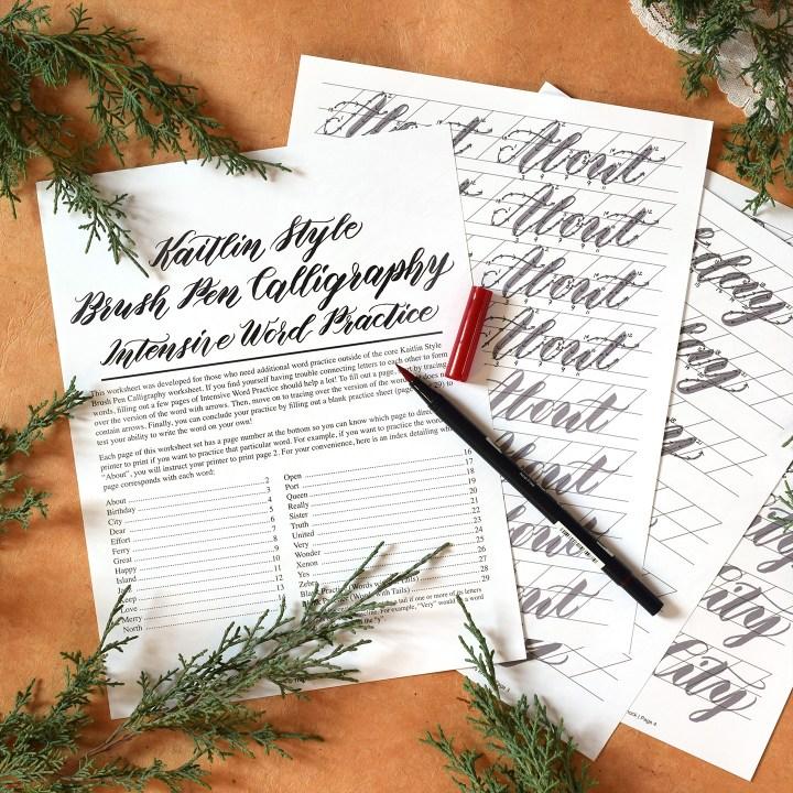 Premium kaitlin style brush pen calligraphy worksheet no