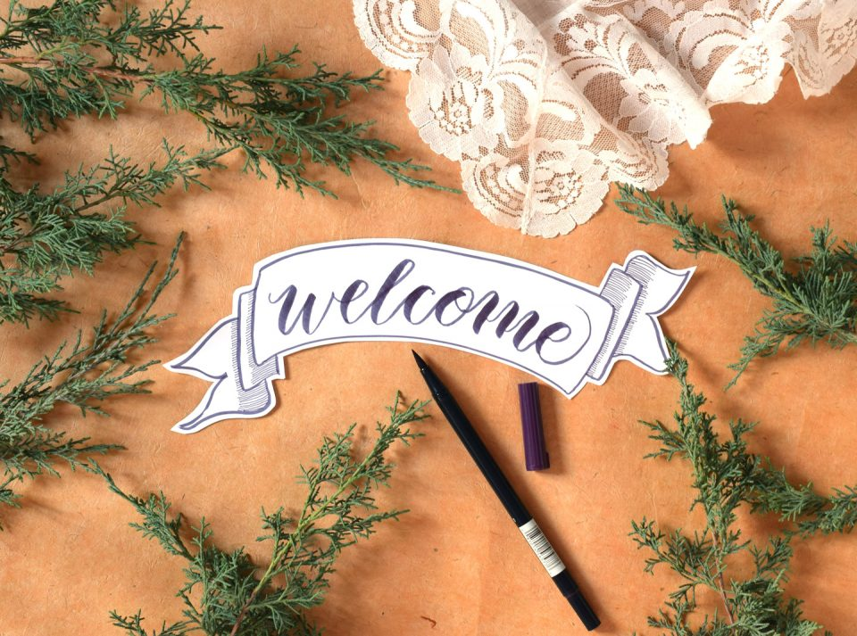 "Brush Pen ""Welcome"" Banner 