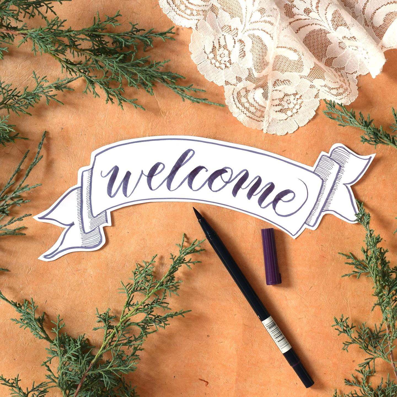 Premium Brush Pen Calligraphy Worksheet Videos Kaitlin Style