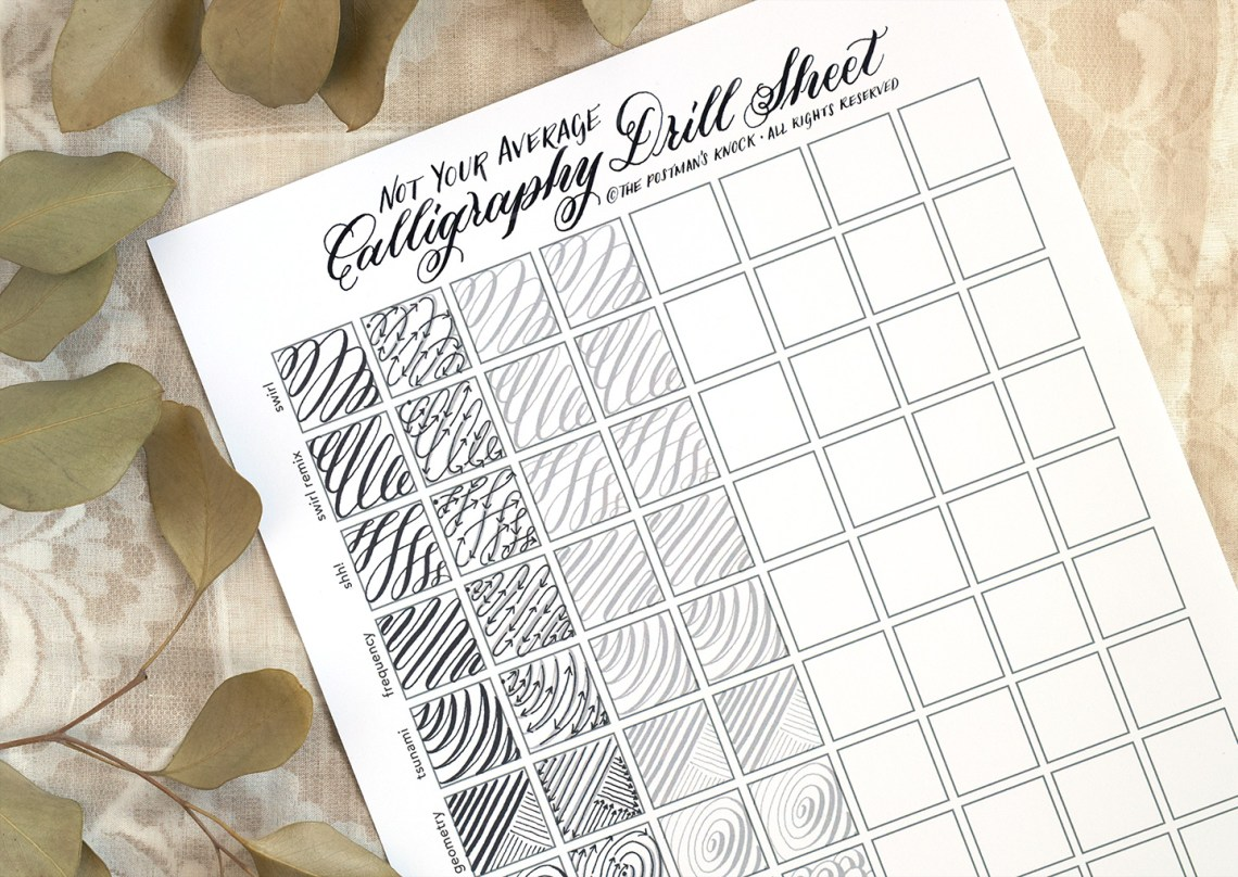 Not Your Average Calligraphy Drills Sheet   The Postman's Knock