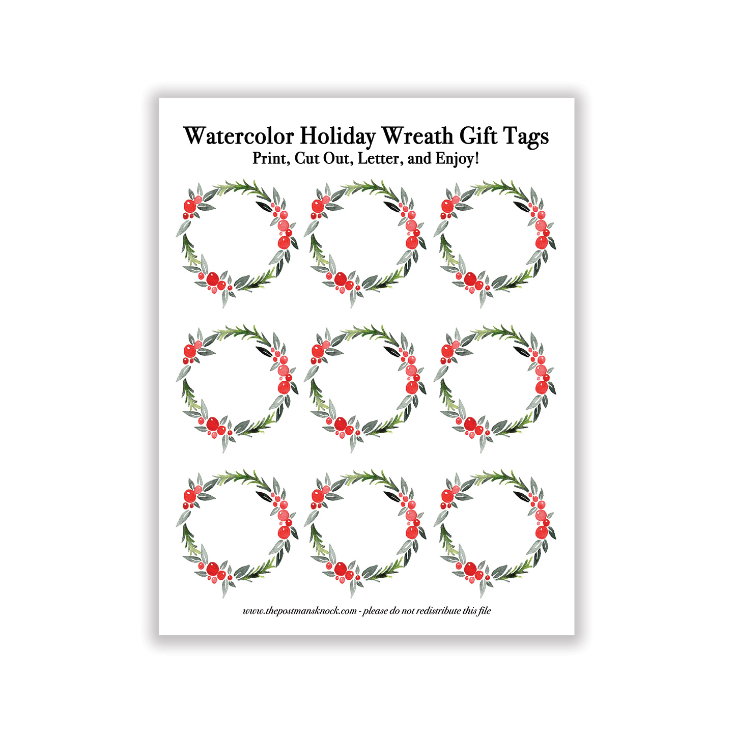 Printable Watercolor Holiday Wreath T Tags
