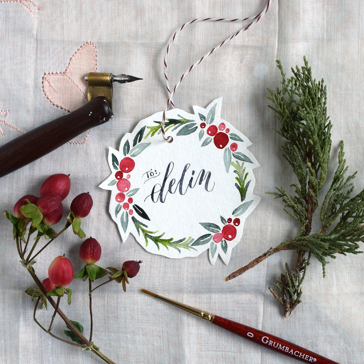 Watercolor Holiday Wreath Tutorial Free Printable The Postman S