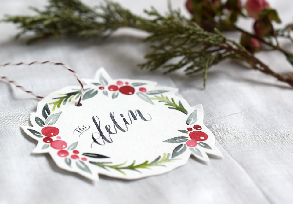 Watercolor Holiday Wreath Tutorial + Free Printable | The Postman's Knock
