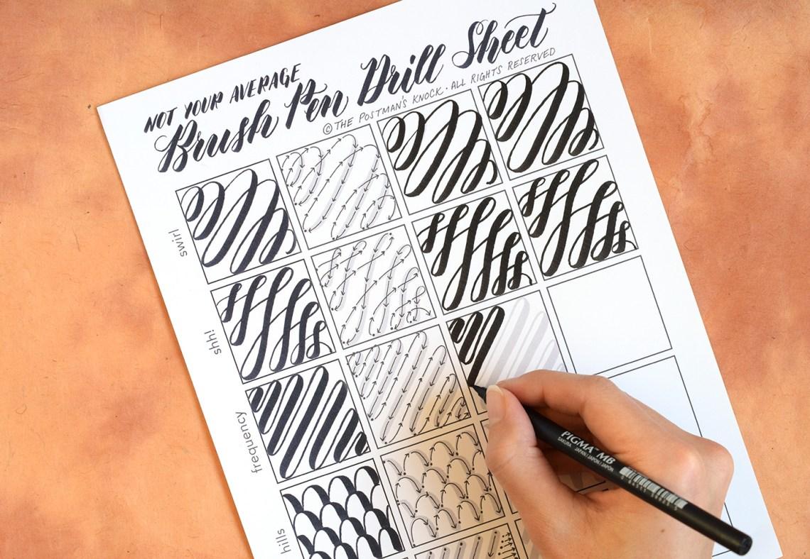 brush calligraphy practice sheets pdf