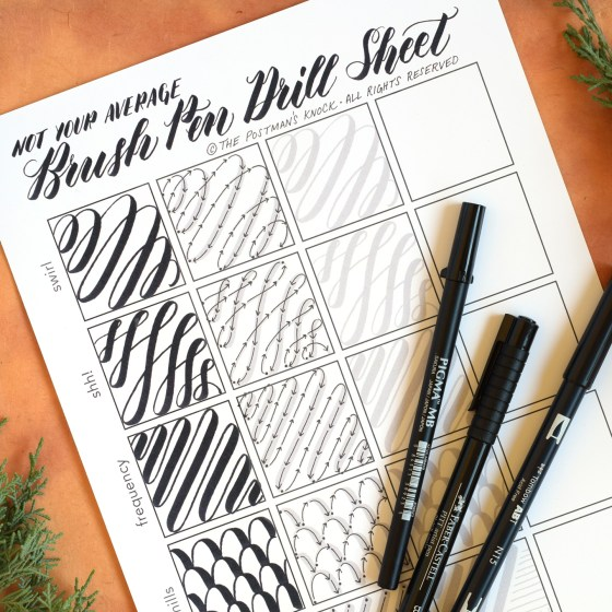 Not Your Average Brush Pen Drills Sheet   The Postman's Knock