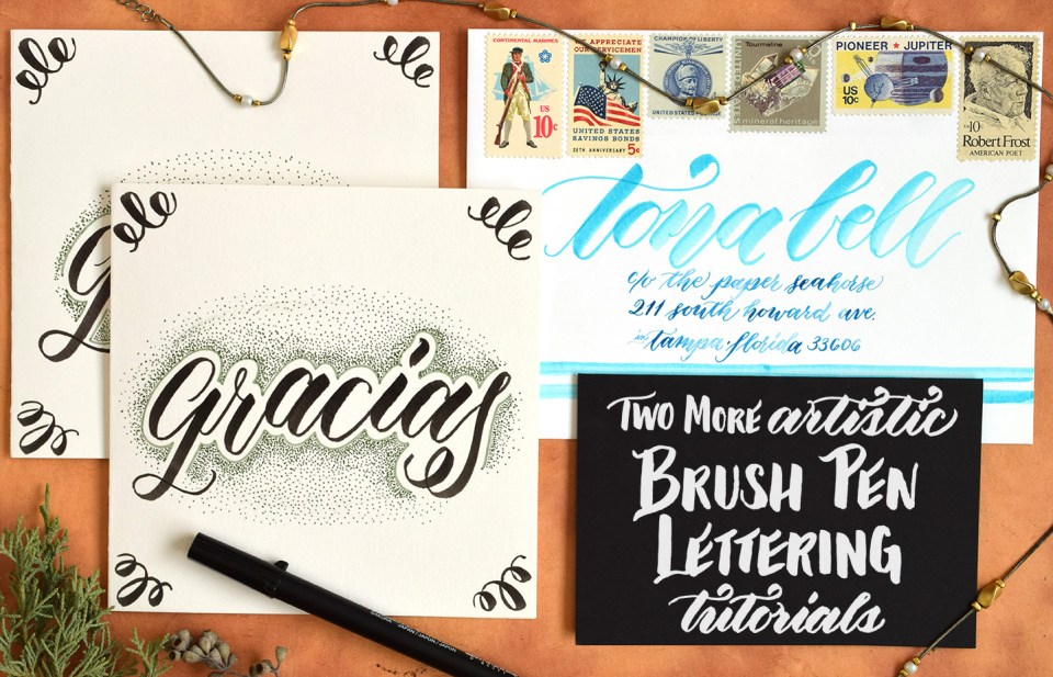 Two More Artistic Brush Pen Lettering Tutorials | The Postman's Knock