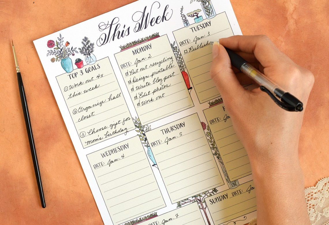 Free Illustrated Printable Weekly Planner   The Postman's Knock