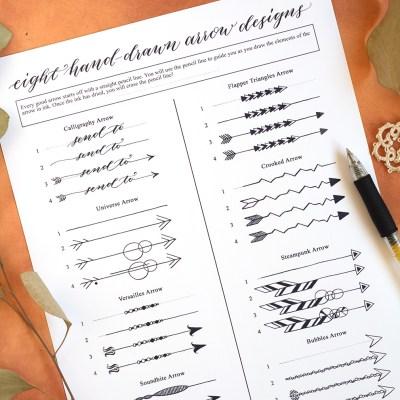 Eight Hand-Drawn Arrow Designs (Free Printable)