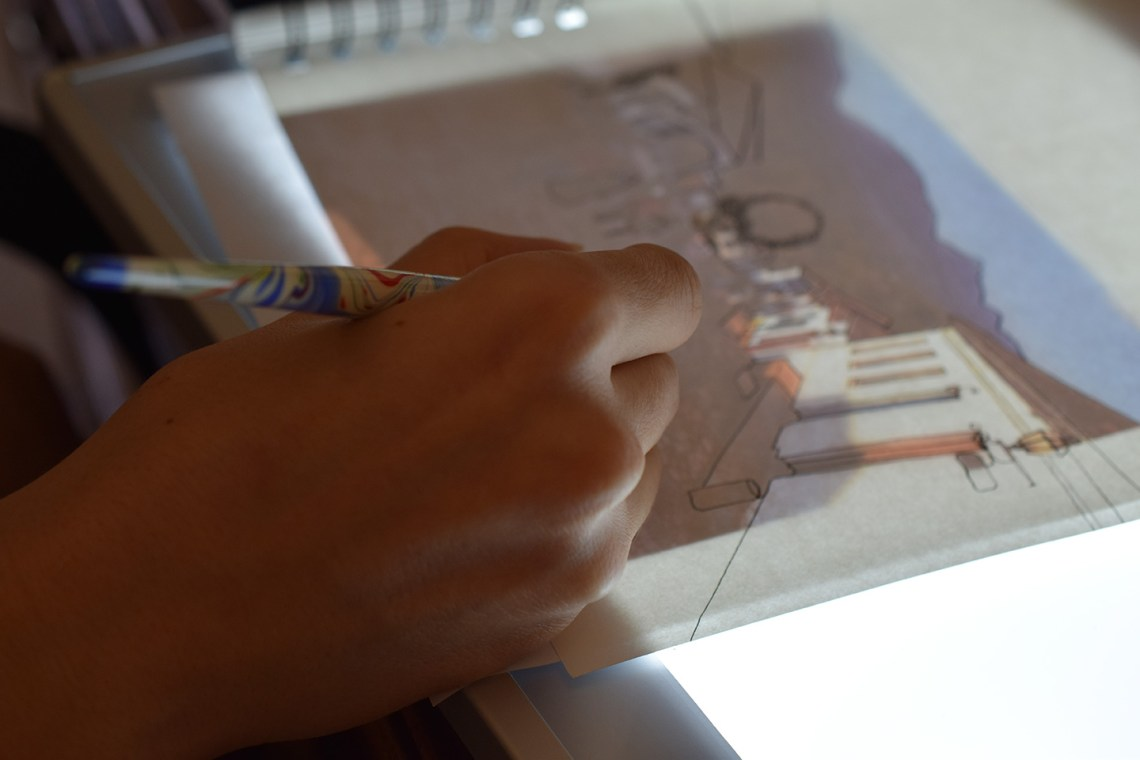 Using a Light Box to Make a Sketchbook Journal Page | The Postman's Knock