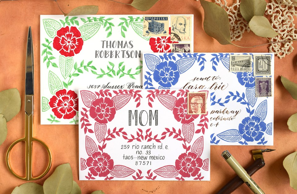 Three Faux Woodcut Art Printable Envelope Templates | The Postman's Knock