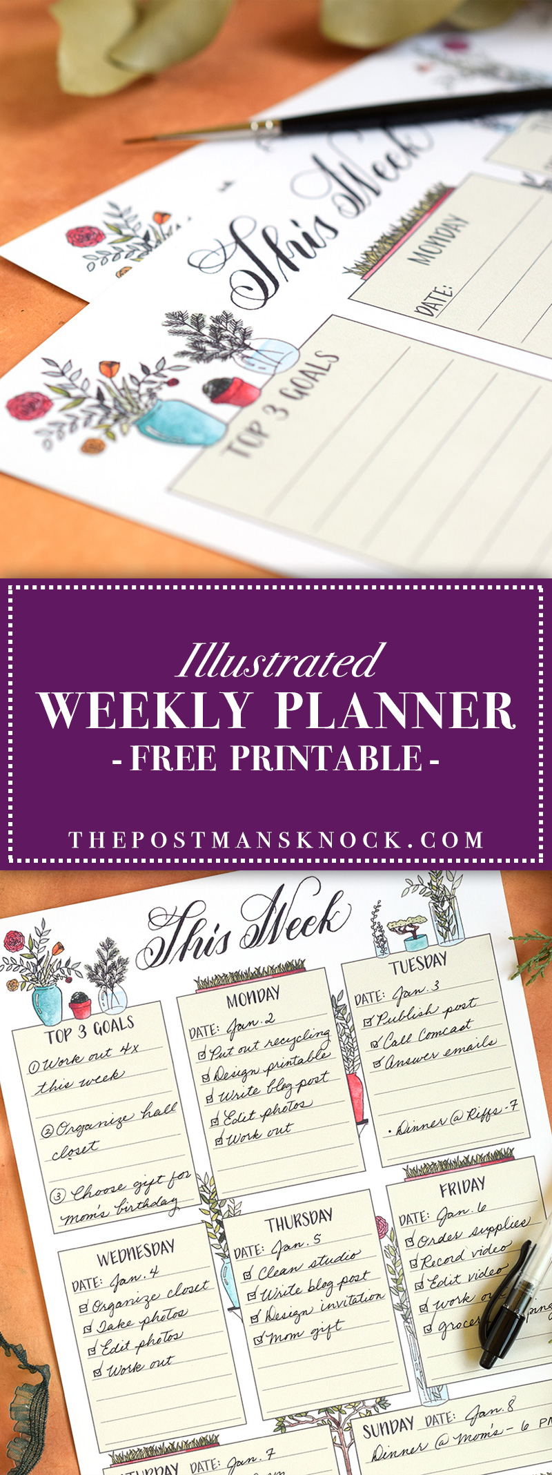 Free Printable Weekly Planner | The Postman's Knock