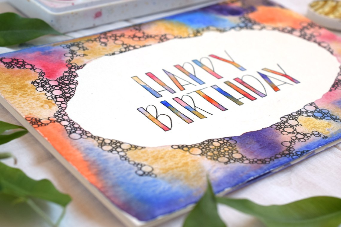 Abstract Bubbles Watercolor Birthday Card Tutorial | The Postman's Knock