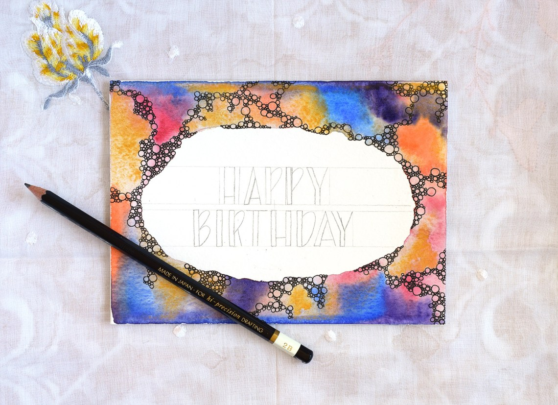 abstract bubbles watercolor birthday card tutorial the postman s knock
