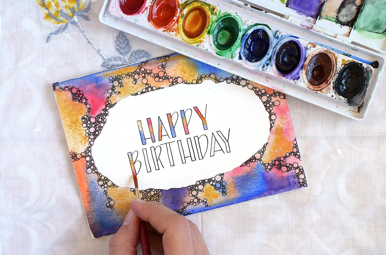 birthday card watercolor