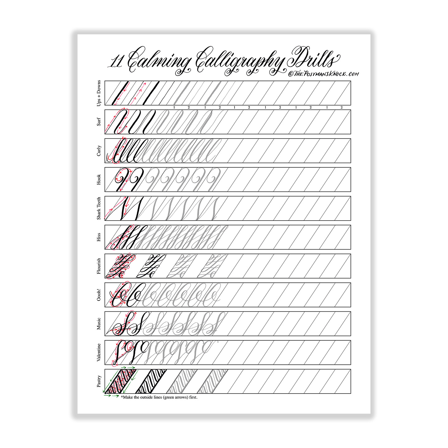 graphic relating to Calligraphy Printable referred to as 11 Enjoyable Calligraphy Drills Printable