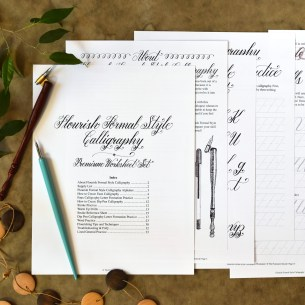 Premium Calligraphy Worksheet Set {Flourish Formal Style} | The Postman's Knock