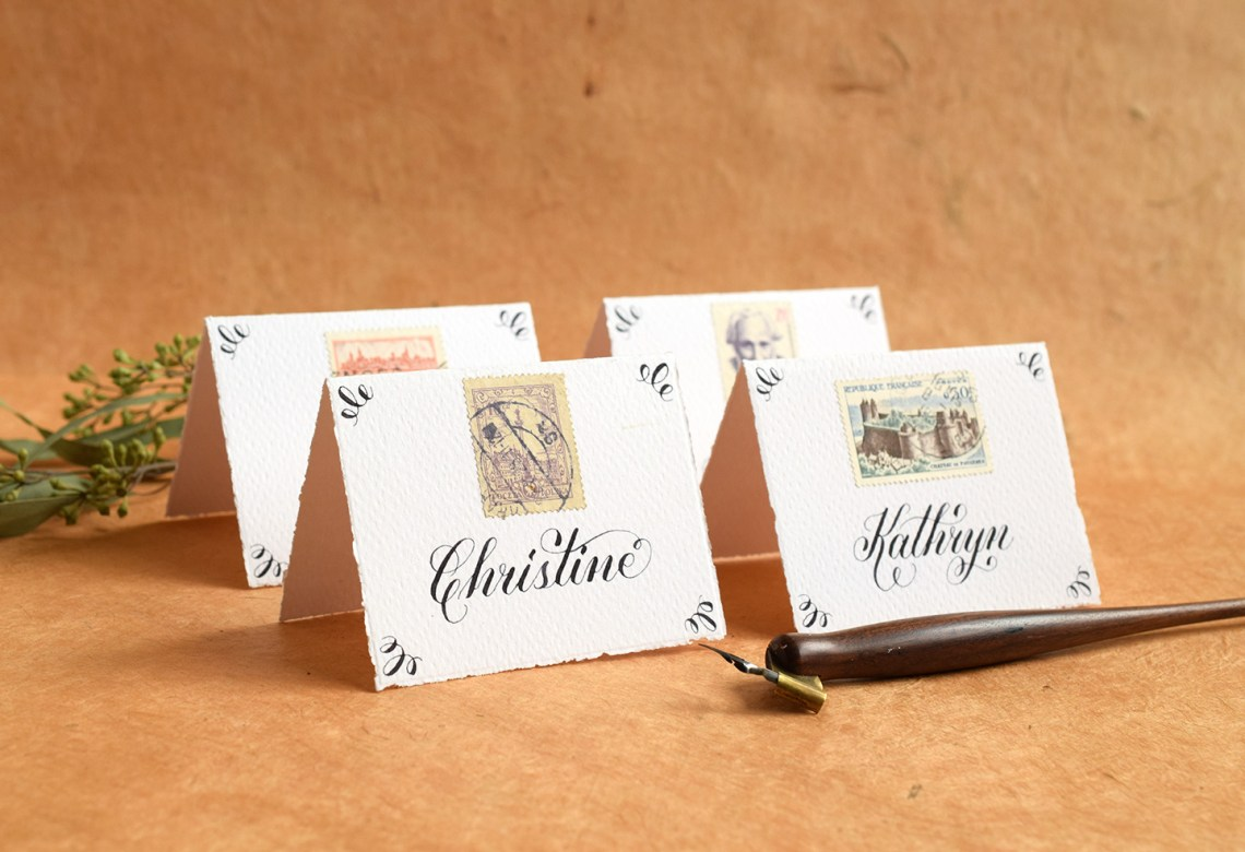 Flourish Formal Calligraphy Style Place Cards | The Postman's Knock