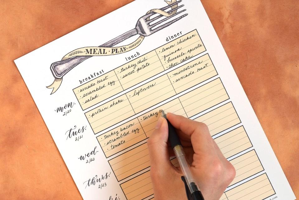 Printable Artistic Weekly Meal Planner | The Postman's Knock