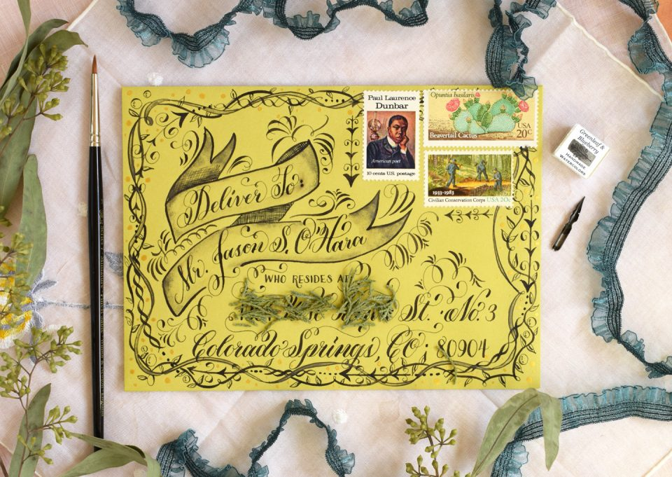 Flourish Formal Style Calligraphy Mail Art   The Postman's Knock