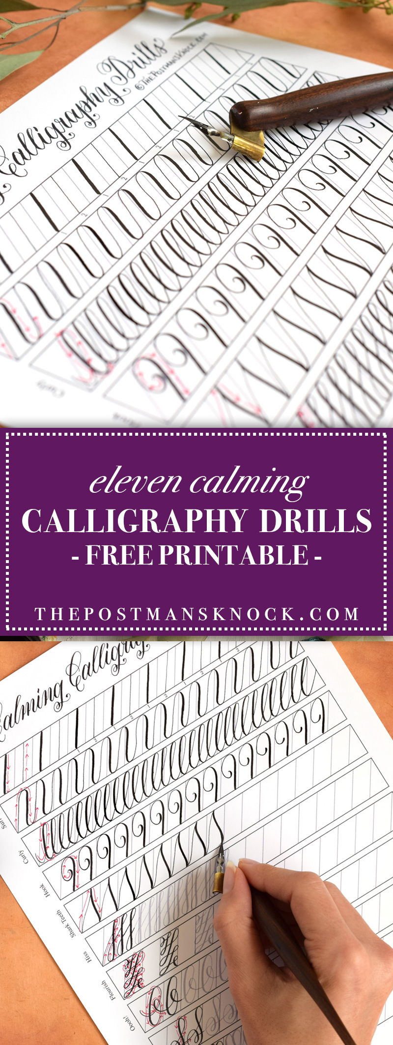 Calming calligraphy drills printable free download