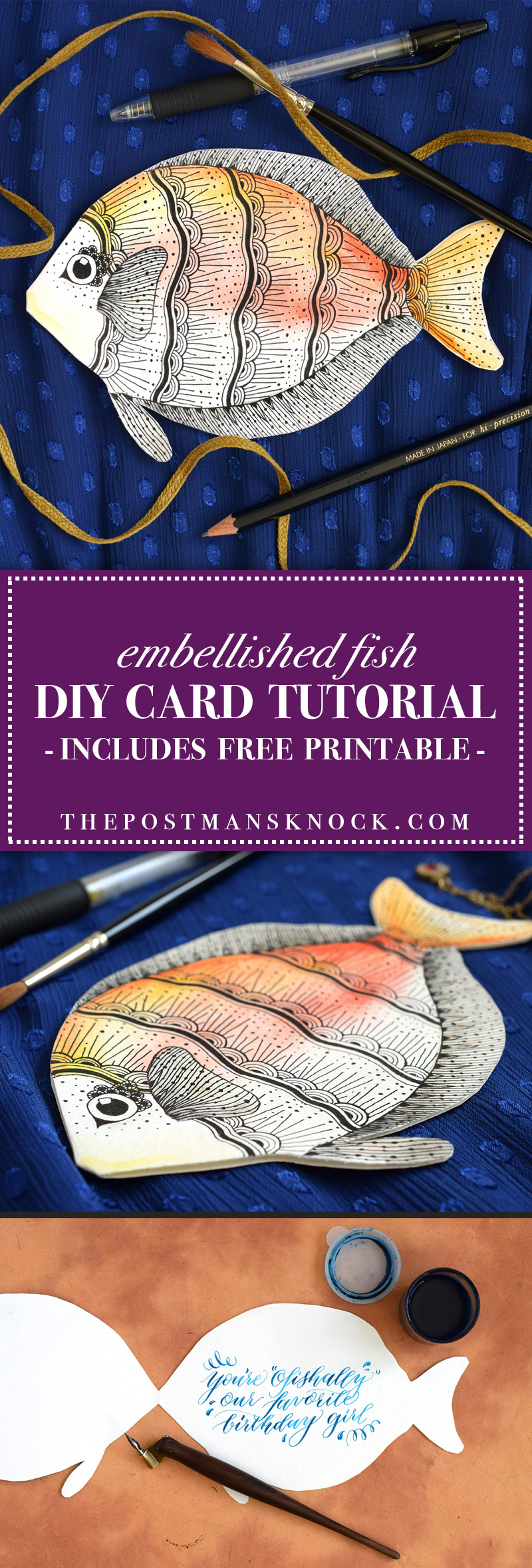 Embellished Fish DIY Card Tutorial | The Postman's Knock