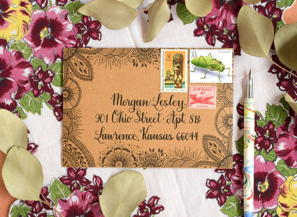 Botanical Henna Envelope Template | The Postman's Knock