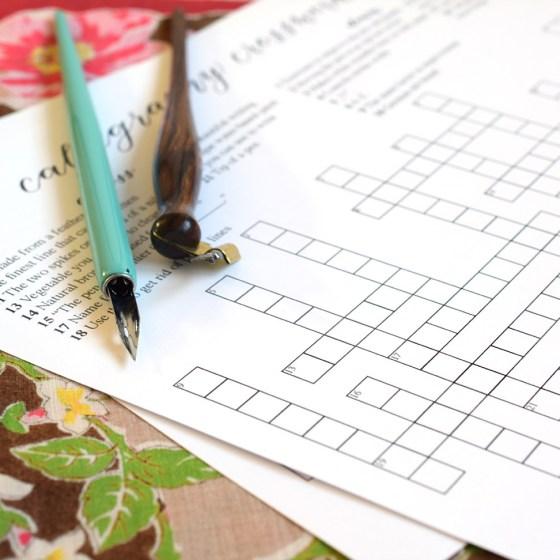 Calligraphy Crossword Puzzle