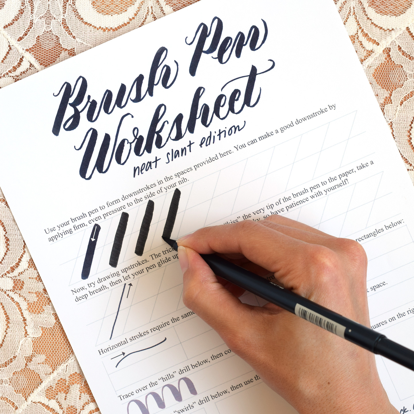 Free brush pen calligraphy worksheet neat slant edition