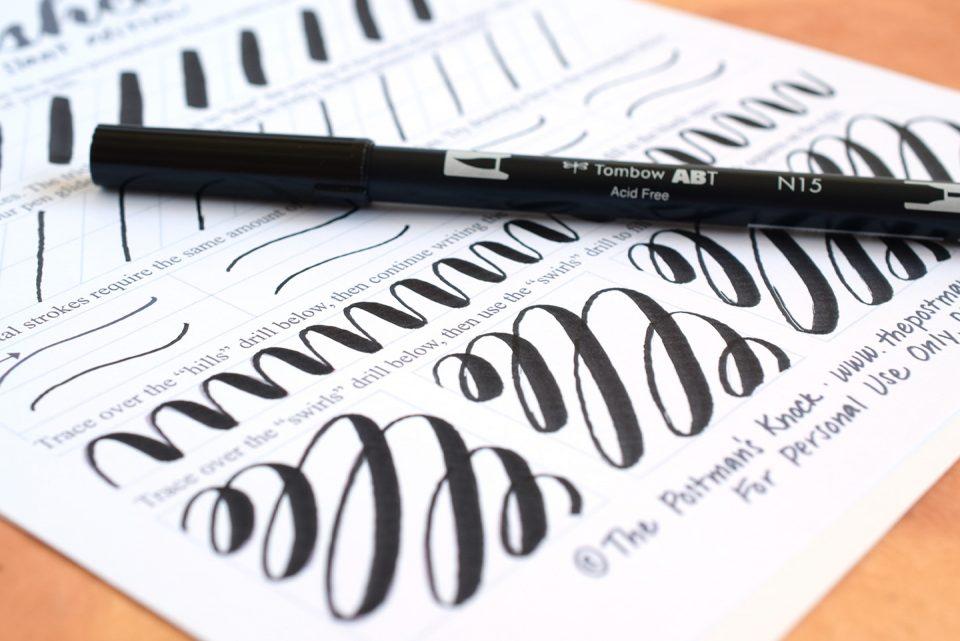 Brush pen calligraphy worksheet neat slant edition the