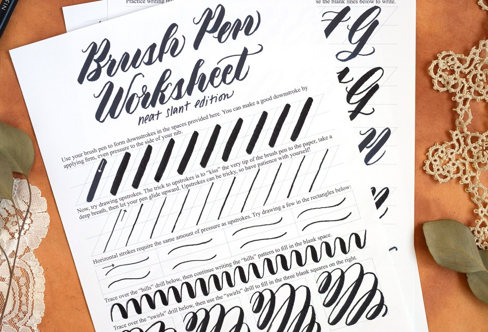 Free Brush Pen Calligraphy Worksheet: Neat Slant Edition | The Postman's Knock