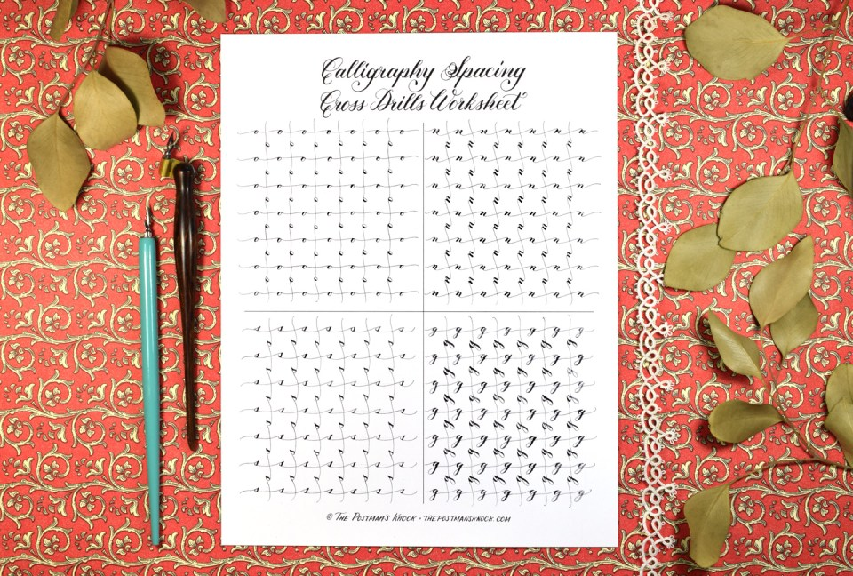 Calligraphy Spacing Cross Drills Worksheet – Free Calligraphy Worksheets