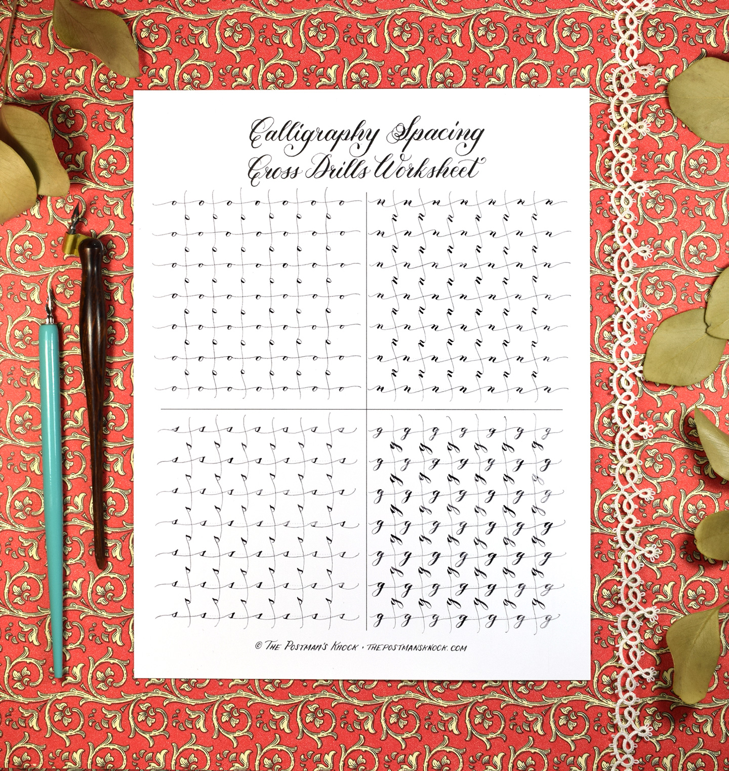 Free calligraphy spacing cross drills worksheet the