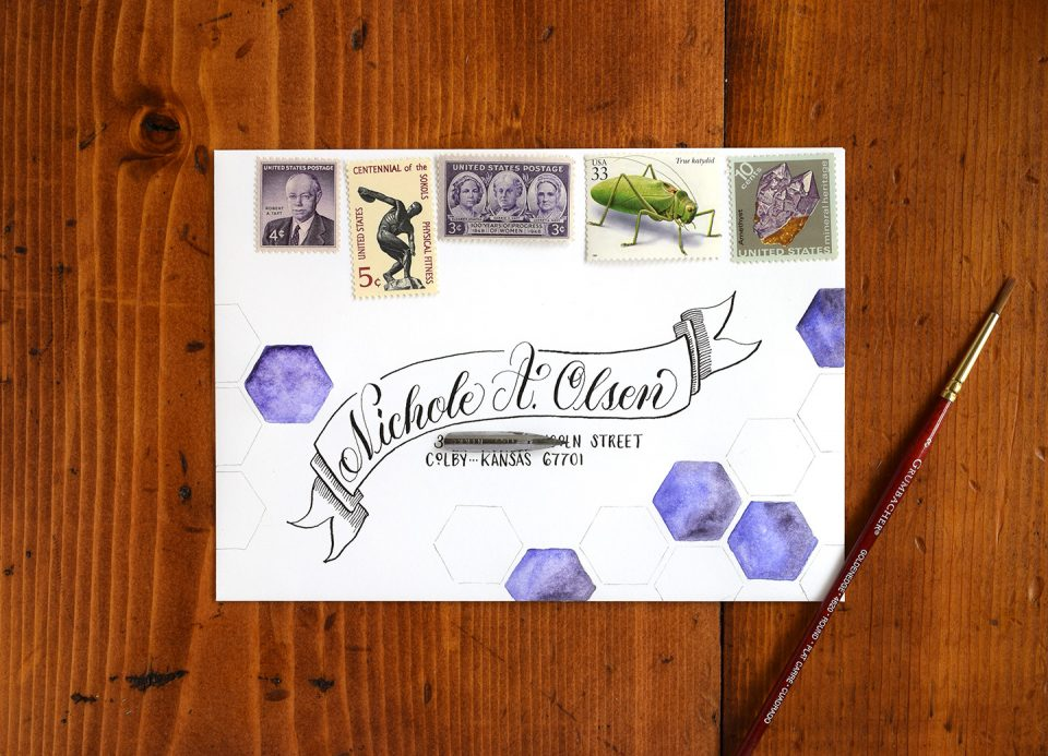 Watercolor Hexagons Mail Art Tutorial | The Postman's Knock