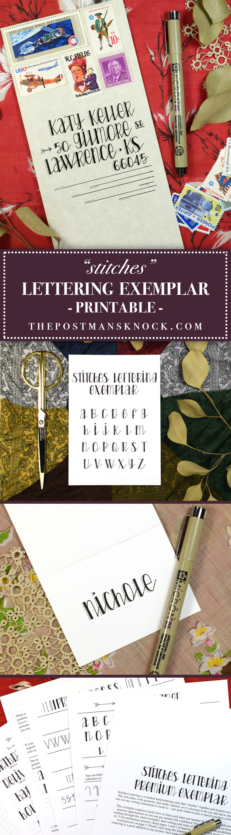 """Stitches"" Printable Hand-Lettering Exemplars 
