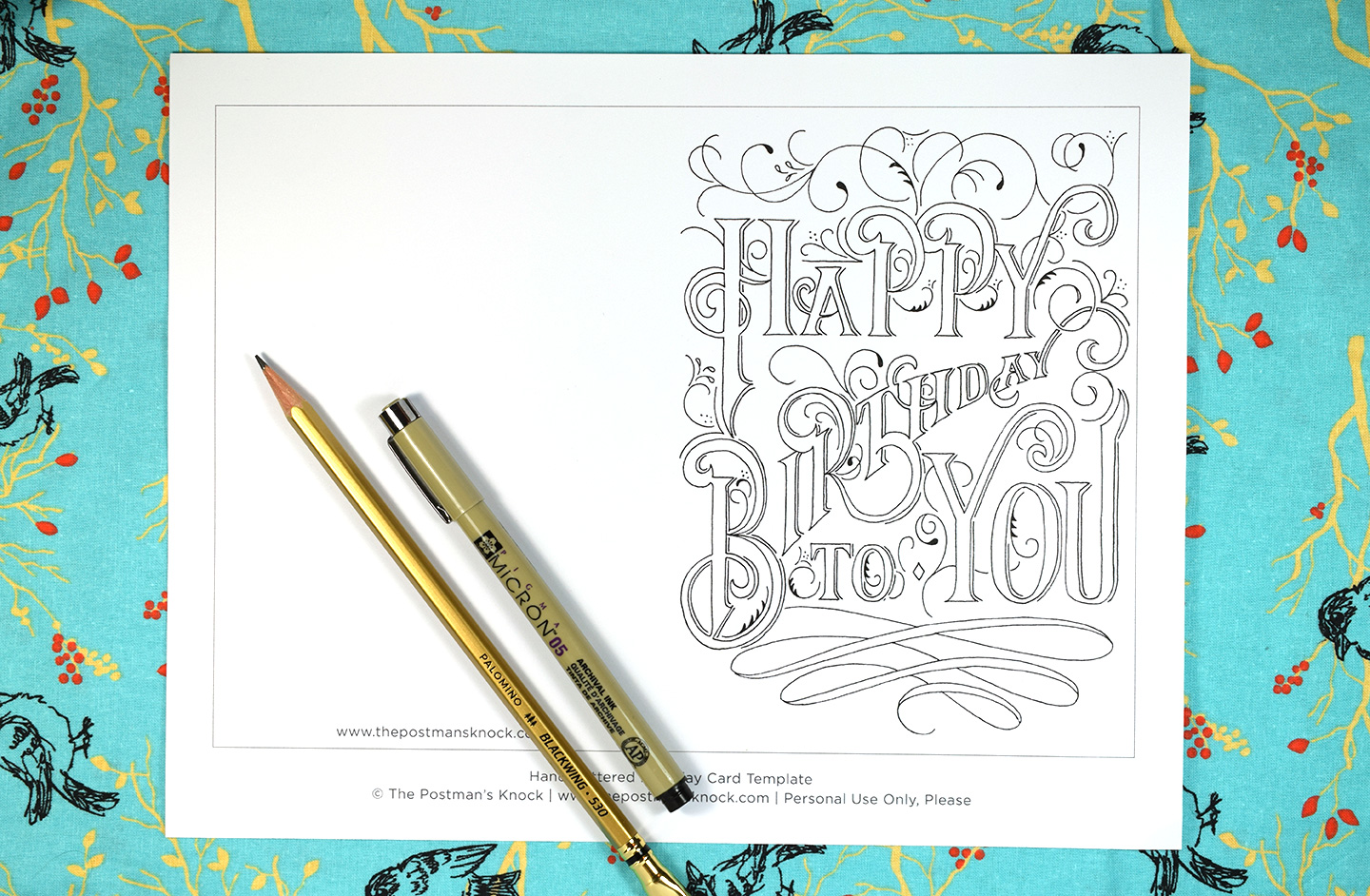 lettered printable birthday card the postman s knock