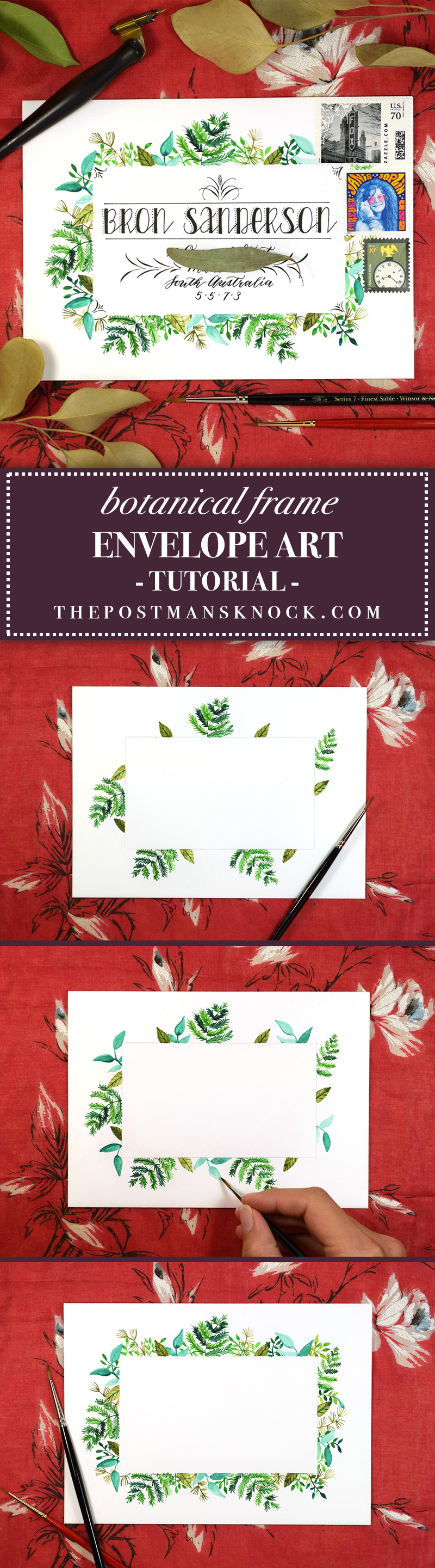 Botanical Frame Envelope Art Tutorial