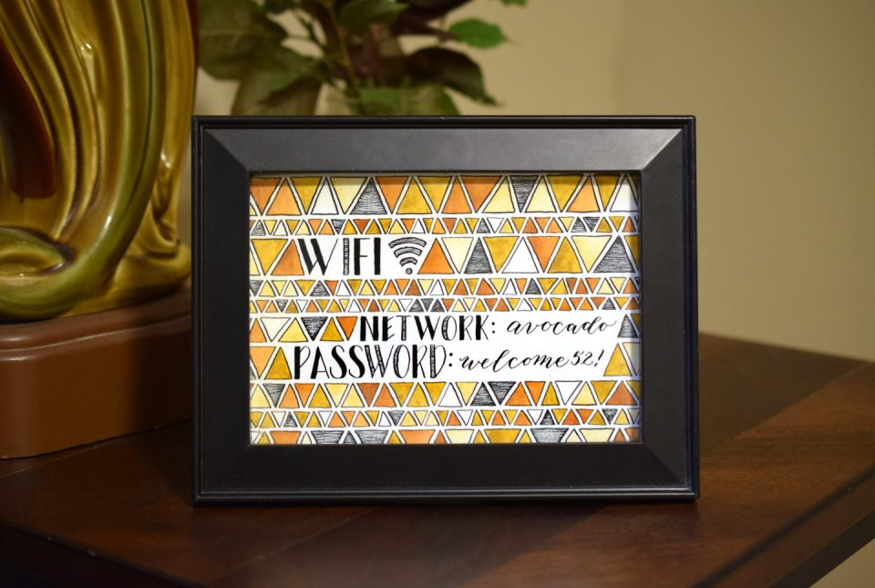 Mid Century Modern Wifi Password Sign Tutorial | The Postman's Knock