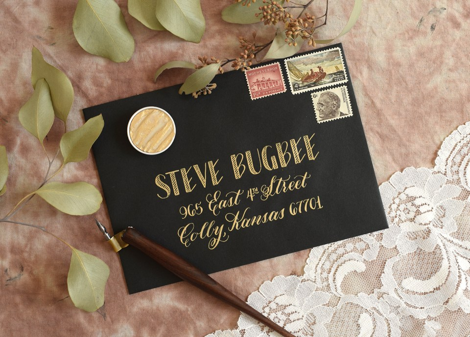 Envelope with Gold Lettering | The Postman's Knock