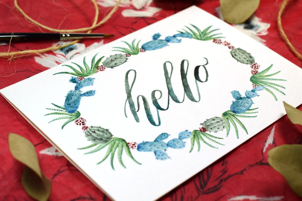 Watercolor Cactus Wreath Tutorial | The Postman's Knock
