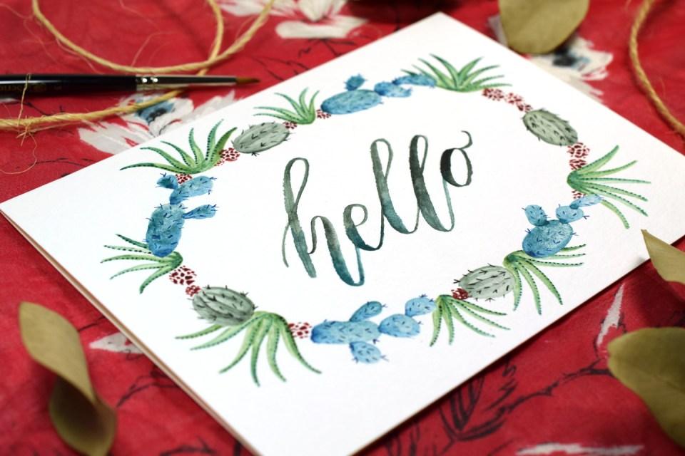 Watercolor Cactus Wreath Tutorial | The Postman's Knock