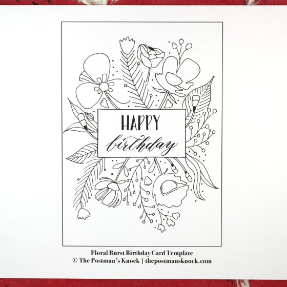 Floral Burst Birthday Card Tutorial Traceable Template