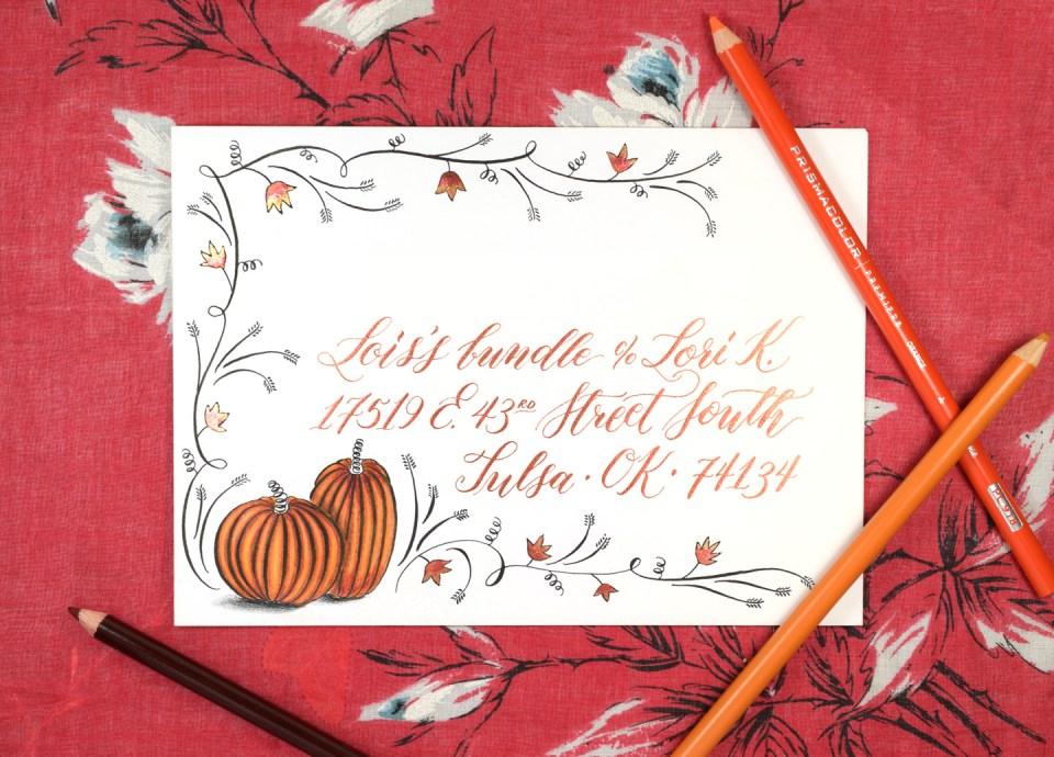 Flourished Autumn Envelope Tutorial | The Postman's Knock
