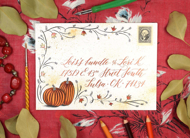 Flourished Autumn Envelope Art Tutorial