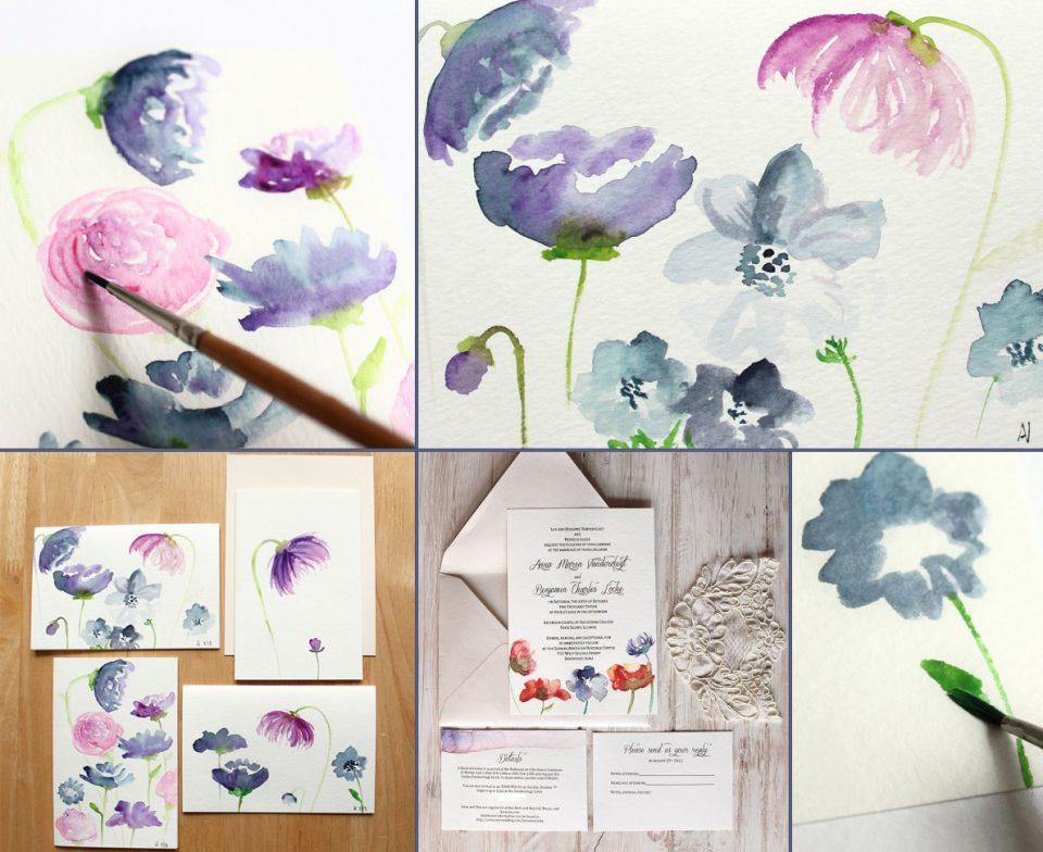 Watercolor Flowers Card Tutorial   The Postman's Knock