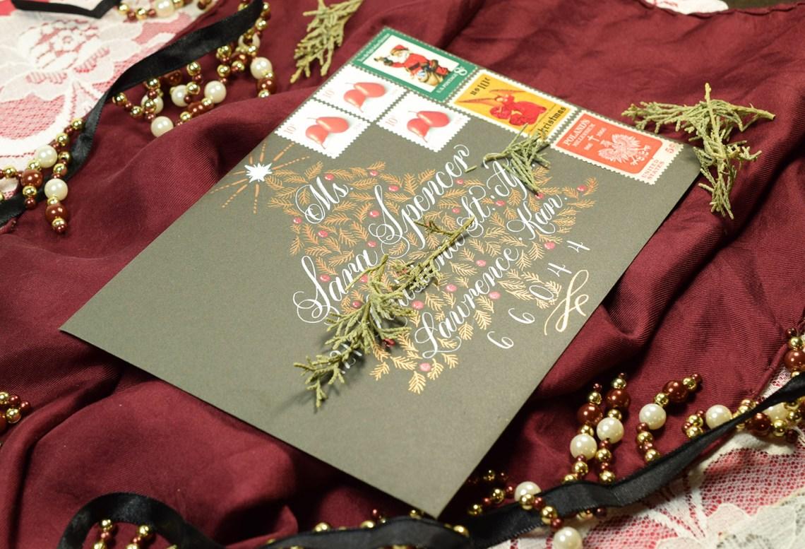 Christmas Tree Holiday Envelope Art Tutorial   The Postman's Knock