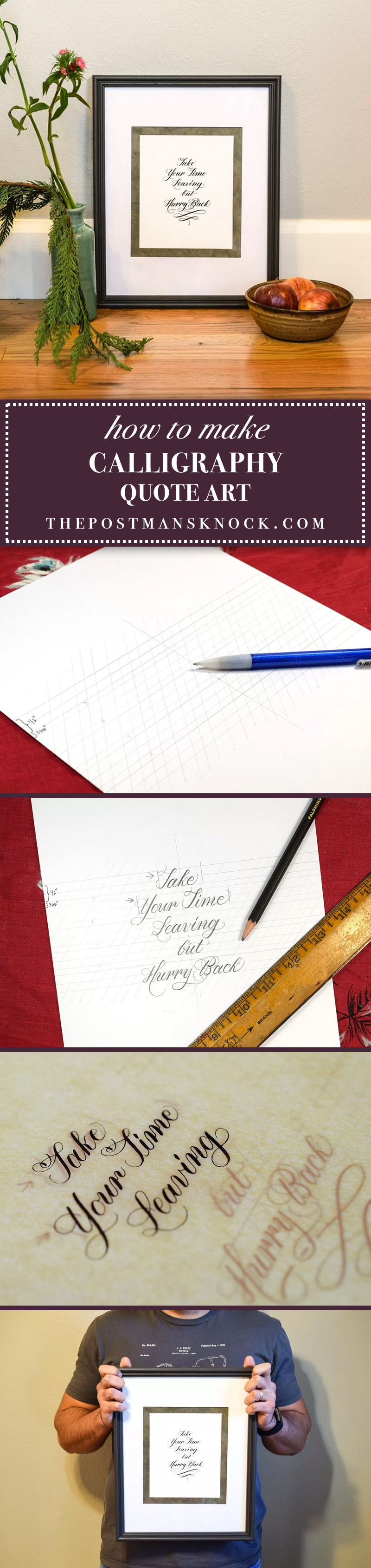 How to make calligraphy quote art the postman s knock