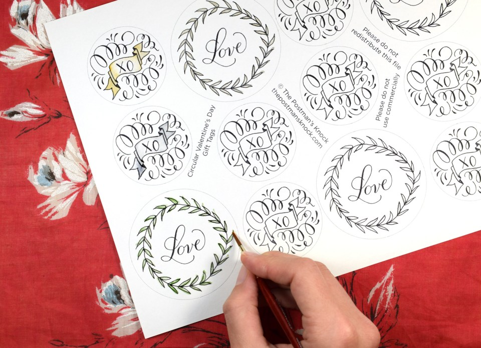 Hand Drawn Valentine's Day Gift Tags - Free Printable | The Postman's Knock
