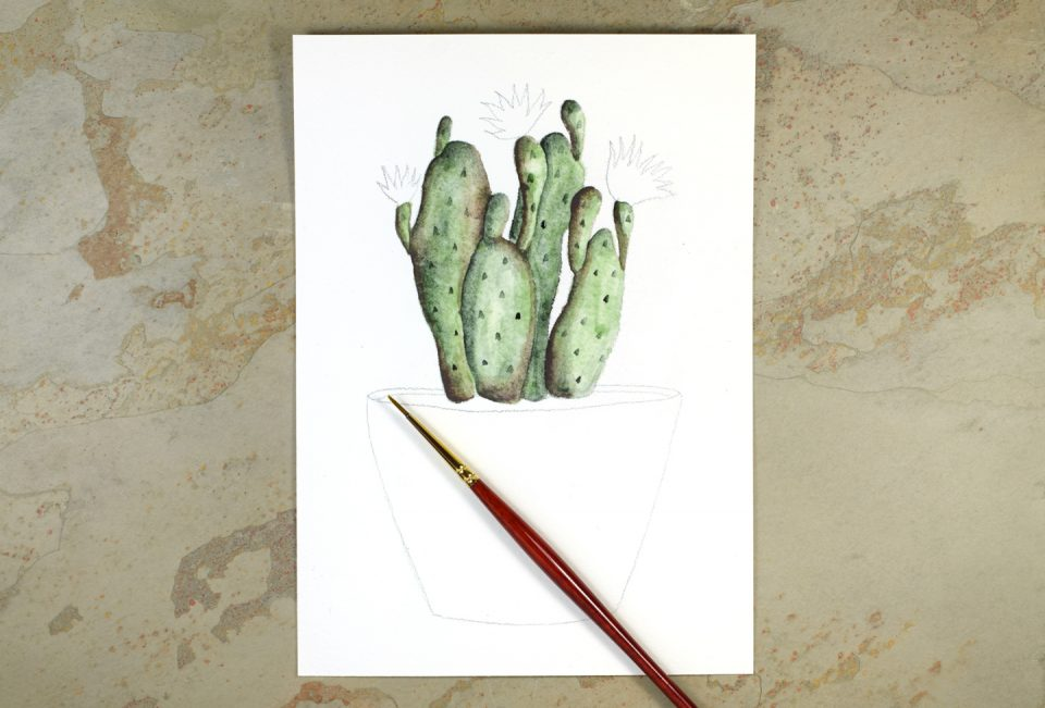 Watercolor Cactus + Quote Artwork Tutorial | The Postman's Knock