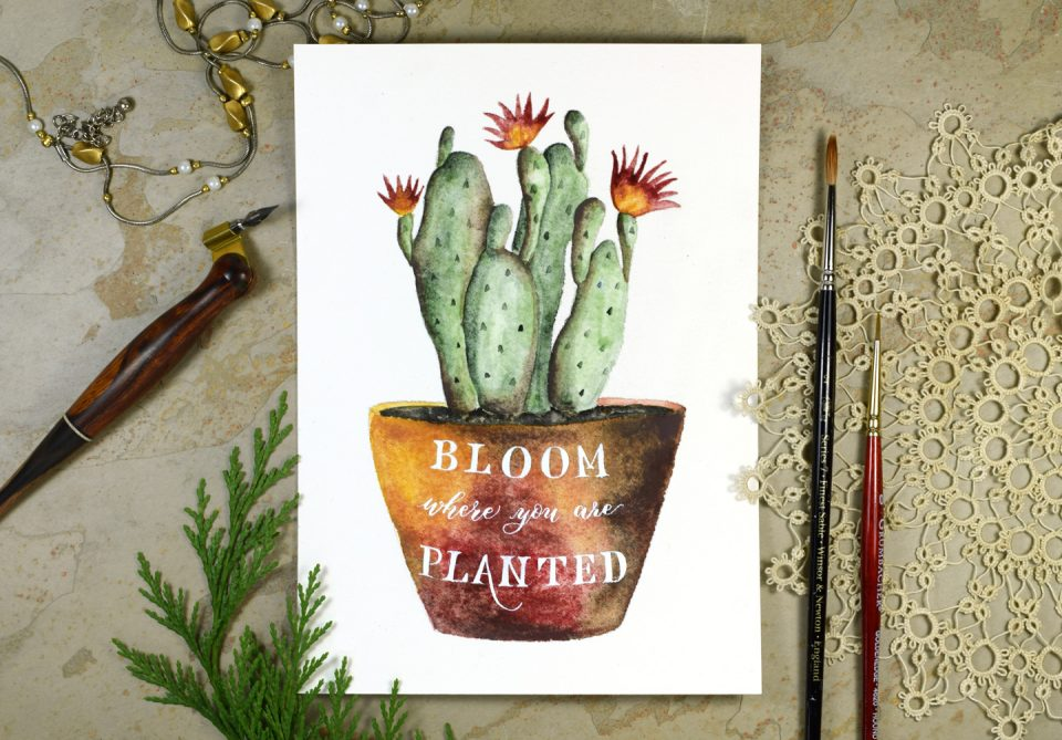 Watercolor Cactus + Quote Artwork Tutorial   The Postman's Knock
